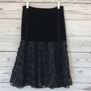 BETSEY JOHNSON Black Velvet Lace Skirt Size 0